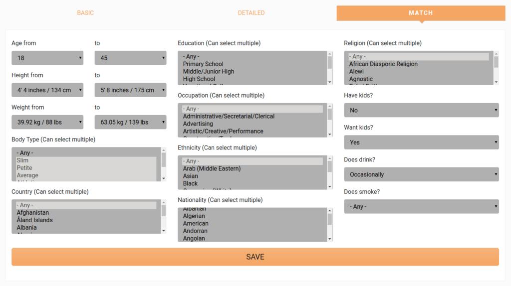 trulychinese edit profile & match preferences