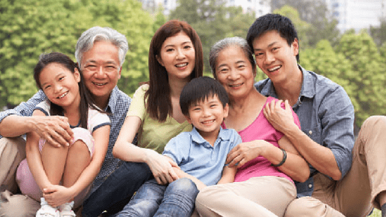a chinese woman with her family