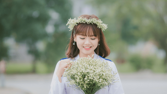 a pretty chinese girl with flowers in her hair