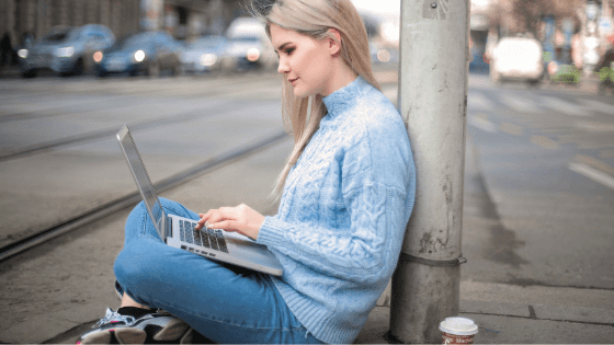woman using a laptop for online dating